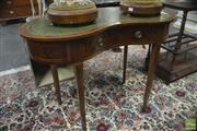 Sale 8359 - Lot 1069 - A Victorian Kidney Shape Desk with tooled green leather top, frieze drawer and tapering legs.