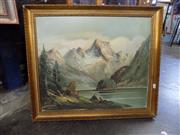 Sale 8422T - Lot 2076 - Artist Unknown, Alpine Scene, oil on canvas, 50 x 59.5cm, signed lower left