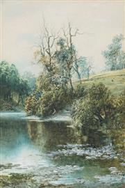 Sale 8764A - Lot 5087 - William Joseph Wadham (1864 - 1950) - Untitled (On the River Bank) 42.5 x 28cm