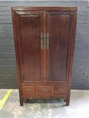 Sale 8979 - Lot 1010A - Elm Oriental Fitted Two Door Cabinet with Three Drawers to Base (h:195 x w:107 x d:53cm)