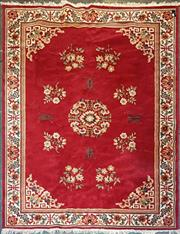 Sale 9006 - Lot 1090 - Oriental Style Machine Made Rug with Red Field & Floral Motif Border (332 x 252cm)