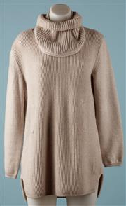 Sale 9090F - Lot 108 - A MAX MARA PURE NEW WOOL JUMPER; oatmeal colour with detatched cowl neck loop collar.