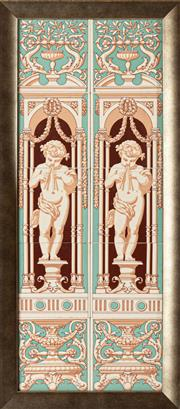 Sale 9083N - Lot 91 - A ten tiled panel depicting putti playing flutes in a classical setting. Frame Height 83 x 37cm