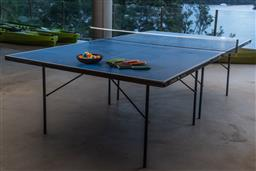 Sale 9162H - Lot 222 - A Stiga family outdoor fold up table tennis set, table Height 76.5cm x 275cm x 152.5cm