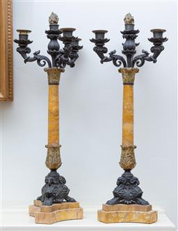 Sale 9190H - Lot 156 - A pair of antique bronze and marble 4 light candelabra C: 1850, the scrolling candle lights on a ormolu and marble column on a rams...