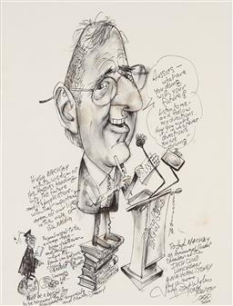 Sale 9208 - Lot 2056 - TONY RAFTY (1915 - 2015) Hugh MacKay as Guest Speaker at the Inch Club ink 48 x36.5 cm (frame: 66 x 50 x 2 cm) signed lower right