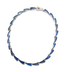 Sale 9246J - Lot 326 - A SILVER LAPIS NECKLACE; sail shaped lapis set links to box clasp with safety clip, probably Mexican, width 8.5mm, length 45cm, wt....