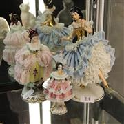 Sale 8236 - Lot 14 - Dresden Crinoline Dancer with 2 Smaller Examples (1 a.f.)