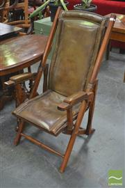 Sale 8267 - Lot 1098 - Victorian Style Beech Folding Chair, with brown studded leather upholstery & padded arms
