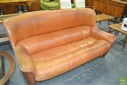 Sale 8275 - Lot 1097 - Vintage Coconut Wood Framed 3 Seater w Leather Studded Upholstery