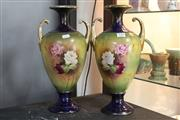 Sale 8360 - Lot 118 - Continental Hand Painted Pair Of Vases