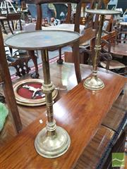 Sale 8416 - Lot 1089 - Pair of Adjustable Brass Candle Stands