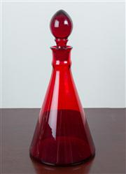 Sale 8435A - Lot 83 - A Victorian ruby red glass conical decanter and stopper, H 29cm