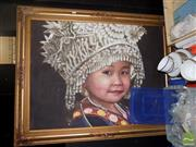 Sale 8471 - Lot 2090 - Artist Unknown (XX) Young Girl in Traditional Headdress, acrylic on canvas, 75 x 100cm, unsigned