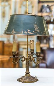 Sale 8516A - Lot 48 - A French 3 light boulette lamp with original hand painted / pinstriped metal shade. Rewired and in working order. 63cm high x 34 c...