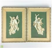 Sale 8589R - Lot 8 - French Porcelain Pair of Framed Classical Figures (H: 40cm)  Damage to one. Signed