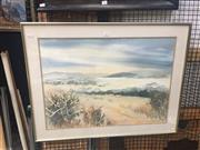 Sale 8707 - Lot 2019 - Sally Bekker - Coastal Landscape 1989 watercolour, 66 x 87cm signed and dated lower right