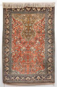 Sale 8735 - Lot 2 - A Persian silk prayer carpet with floral pattern on pink ground, 216 x 140cm