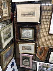 Sale 8841 - Lot 2044 - A group of 4 artworks, including early watercolours and sketch, etching, framed and various sizes