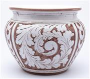 Sale 8940J - Lot 95 - A large brown and white ceramic vase with acanthus decoration reminiscent of Pilkingtons wares, height 29, width 36cm