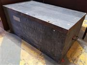 Sale 8956 - Lot 1084 - 19th Century Painted Pine Army Chest, with iron strap work & carry handles (H:46 x L:106 x D:60cm)