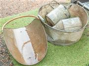 Sale 8984W - Lot 595 - A shallow galvanised bucket together with a watering can, a funnel and a copper wood carrier.
