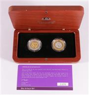 Sale 9035M - Lot 815 - Royal Australian Mint 2006 50c selectively gold plated silver proof coin set in timber case, with certificate of authenticity, no.33...