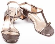Sale 9090F - Lot 34 - A PAIR LANVIN SANDALS; silver gunmetal coloured, textured leather with silver-tone metal block heel, size 39, complete with box.