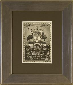 Sale 9091 - Lot 2036 - Lionel Lindsay (1874 - 1961) The Royal Australasian College of Physicians bookplate (woodcut) frame: 32 x 27cm -