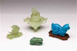 Sale 9098 - Lot 254 - Greenstone Censer H: 11cm, Together With Fish, Rabbit And A blue Stone Cat
