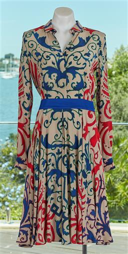 Sale 9120K - Lot 22 - A Gianni Versace silk long sleeve dress; with blue waistband and concealed zipper to side, size 42