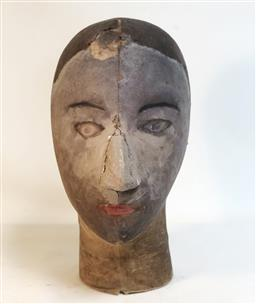 Sale 9142A - Lot 5077 - French Mannequins Head c1900: canvas and straw, 30 x 16 cm -