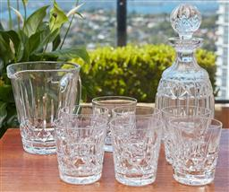 Sale 9099 - Lot 60 - Waterford crystal suite including seven tumblers, decanter and jug, Height of decanter 27cm