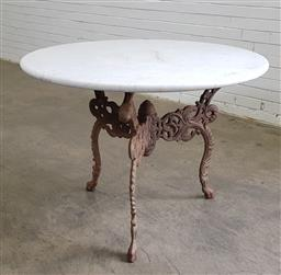 Sale 9179 - Lot 1023 - Cast Iron & Round Marble Top Occasional Table (h:80 x d:106cm) - purchased from Christies Australia The Collection of John Schaeffe...