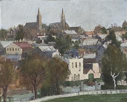Sale 9189A - Lot 5100 - D. REFSHAUGE 'From a Window at Alexandria College, Victoria 1946' oil on board 26.5 x 33 cm (frame: 38 x 45 x 4 cm) signed indistinc.