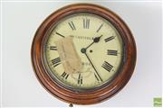 Sale 8481 - Lot 86 - Round Cedar Wall Clock Marked W. M Russell London from Psychiatric Centre Parramatta