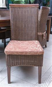 Sale 8568A - Lot 127 - A set of 10 hardwood and caned high back dining chairs with tie on cushions, H of back 106cm
