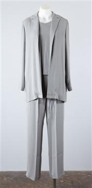 Sale 8685F - Lot 45 - A womens soft-grey rayon-blend lounge suit, to include a loose cropped top (US 8), drawstring pants (US 4) and a cardigan (US 4)