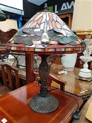 Sale 8697 - Lot 1025 - Pair of Leadlight Shade Table Lamps