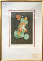 Sale 8789 - Lot 2051 - Peter Hickey - Nasturtiums colour aquatint etching ed. 1/30, 55 x 43cm (frame), signed lower right