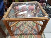 Sale 8863 - Lot 1084 - Pair of Glass Top Cane Side Tables