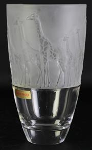 Sale 8980 - Lot 44 - A Nachtmann crystal vase with frosted giraffe themed top section (H26.5cm)