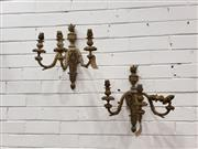 Sale 9085 - Lot 1052 - Pair of Louis XVI Style Gilt Brass Wall Sconces, each with three arms & urn finials