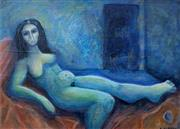 Sale 9084A - Lot 5003 - Christina Cordero (1938 - ) - Reclining Nude in Blue Room, 1989 18 x 25 cm (frame: 29 x 34 x 3 cm)