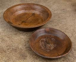 Sale 9160H - Lot 173 - Two hand carved and turned timber bowls, larger Diameter 43cm