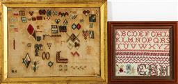 Sale 9164 - Lot 326 - An antique framed tapestry and another (42cm x 33cm and 27cm x 25cm)