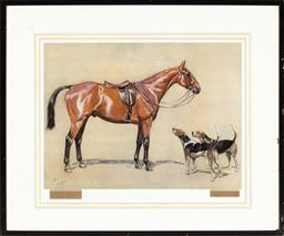 Sale 9190H - Lot 310 - Cecil Alden, horse and two hounds, print, framed size 60cm x 73cm