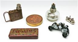 Sale 9190 - Lot 78 - A collection of rustic wares including spirit lamp and binoculars