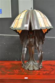 Sale 8147 - Lot 1005 - An Impressive Bronze Style Figural Base Table Lamp with Leadlight Shade
