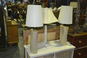 Sale 8165 - Lot 1036 - Pair Of Ceramic Table Lamps & Another Stone Lamp (3)